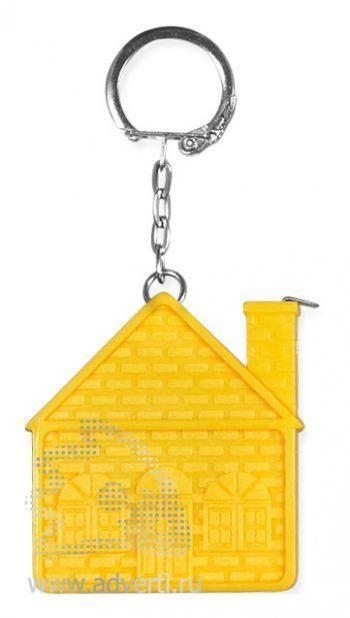 Брелок-рулетка «Дом», желтый