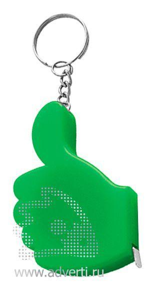 Брелок-рулетка «Yes», зеленый