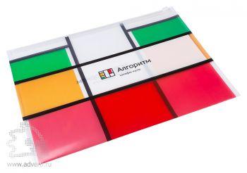 Папка-конверт на молнии с полноцветной печатью, формат А4, прозрачная