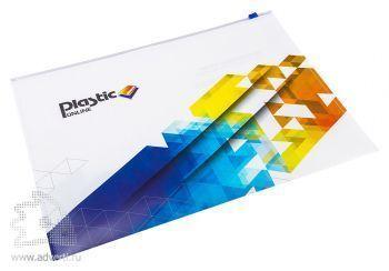 Папка-конверт на молнии с полноцветной печатью, формат А4, белая