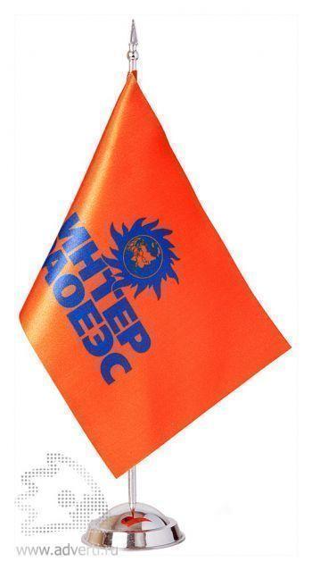 Флажок настольный с 1 пластиковым флагштоком цвета «металлик»