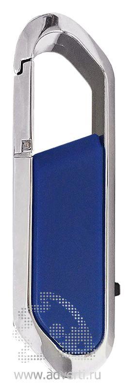 USB-флешка с карабином и покрытием soft touch, синяя