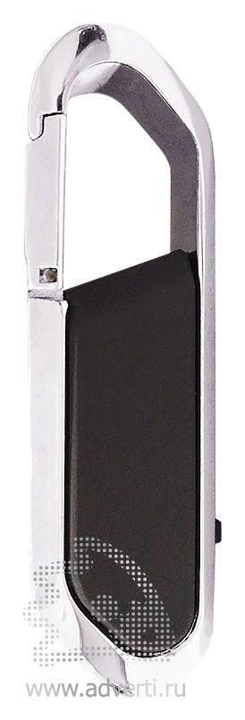 USB-флешка с карабином и покрытием soft touch, черная