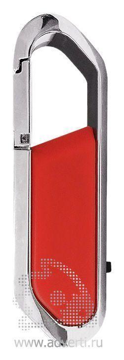 USB-флешка с карабином и покрытием soft touch, красная
