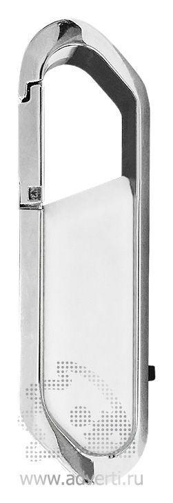 USB-флешка с карабином и покрытием soft touch, белый