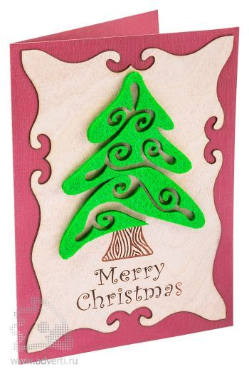 Открытка «Веселого Рождества» из дерева и картона