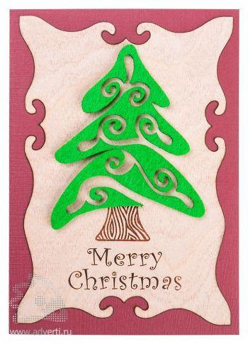 Открытка «Веселого Рождества» из дерева и картона, в анфас