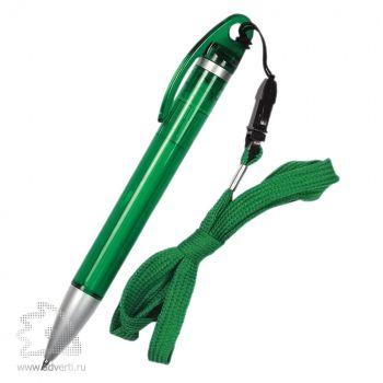 Ручка шариковая «Конгресс» на шнурке, зеленая