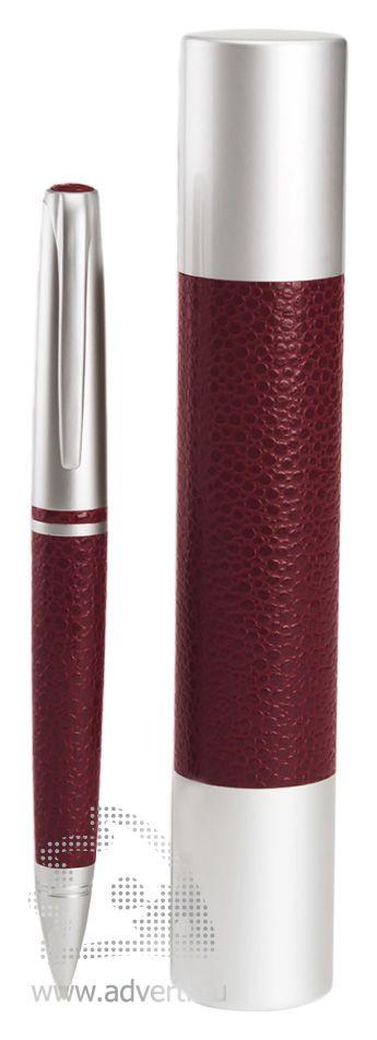 Ручка шариковая в футляре PR-030, бордовая
