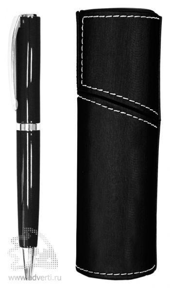 Ручка шариковая PR-032 с поворотным механизмом в футляре, черная