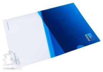 Папка уголок с полноцветной печатью, формат А4, прозрачный пластик