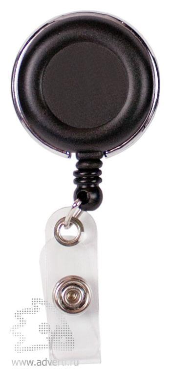 Ретрактор-брелок премиум, круглый, черный
