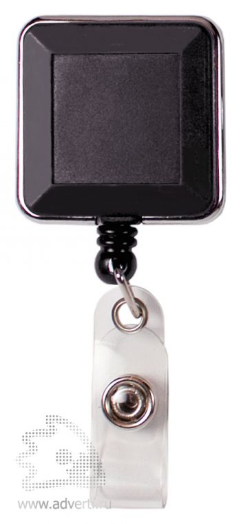 Ретрактор-брелок премиум, квадратный, черный