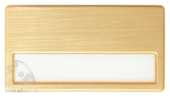 Бейдж пластиковый с окошком для сменной информации «Стандарт», золотистый
