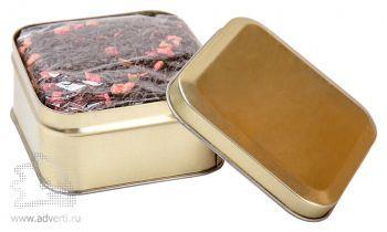 Чай в жестяной банке, коробка золотого цвета