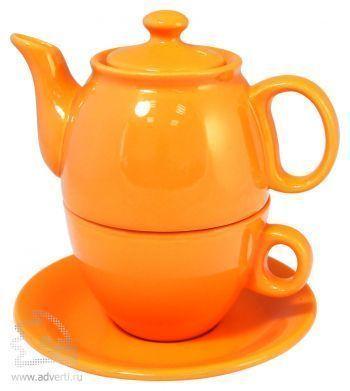 Чайник с чашкой «Чайный дуэт», оранжевый