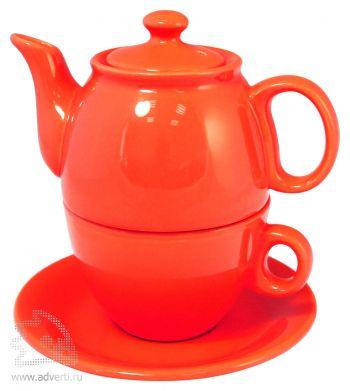 Чайник с чашкой «Чайный дуэт», красный