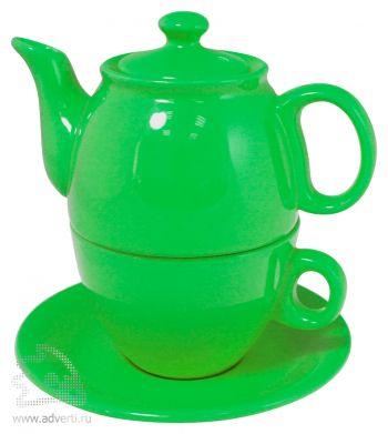 Чайник с чашкой «Чайный дуэт», зеленый