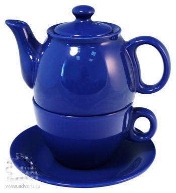 Чайник с чашкой «Чайный дуэт», синий