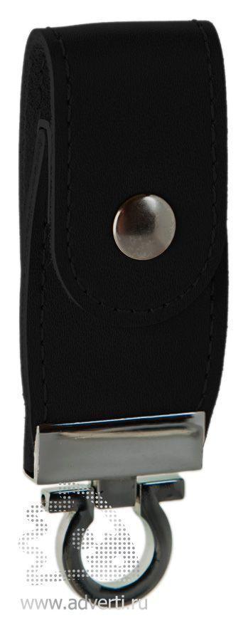 Флешка с кожаным хлястиком, черная