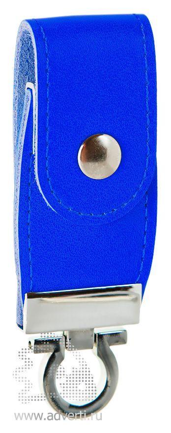 Флешка с кожаным хлястиком, синяя