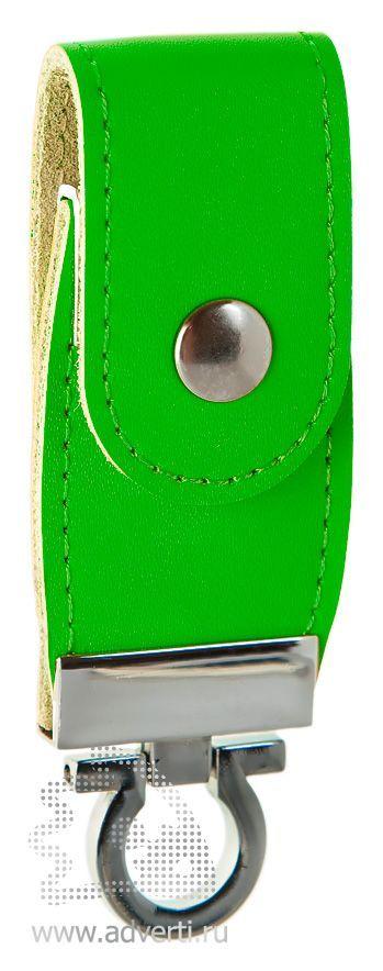 Флешка с кожаным хлястиком, зеленая