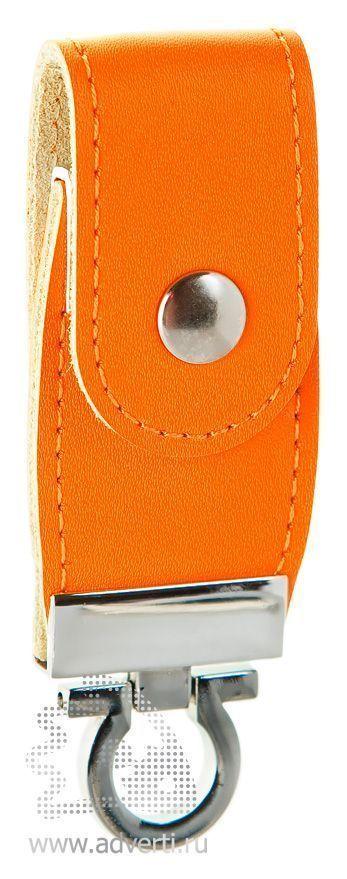 Флешка с кожаным хлястиком, оранжевая