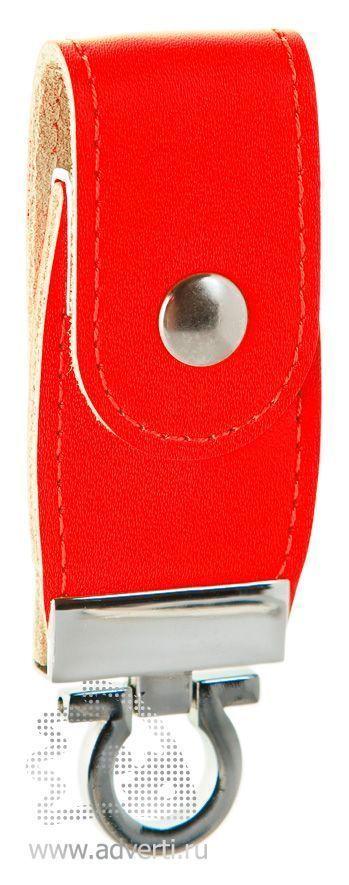 Флешка с кожаным хлястиком, красная