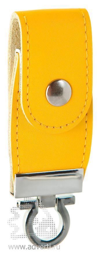 Флешка с кожаным хлястиком, желтая