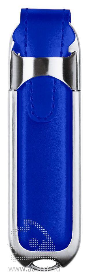 Флешка «Leather», синяя