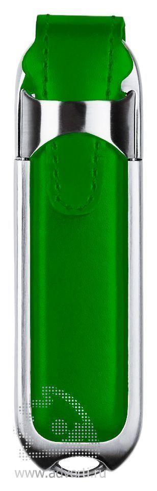 Флешка «Leather», зеленая