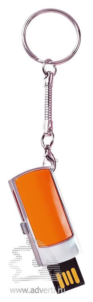 USB-флешка c выдвигающимся чипом, оранжевая