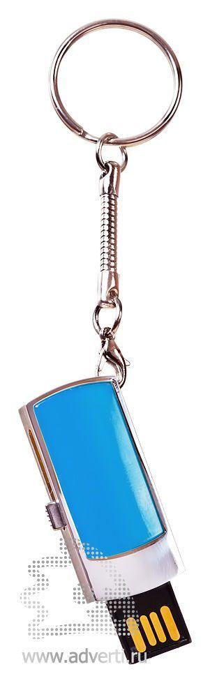 USB-флешка c выдвигающимся чипом, голубая