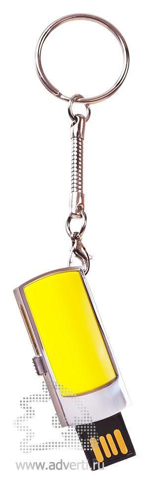 USB-флешка c выдвигающимся чипом, желтая