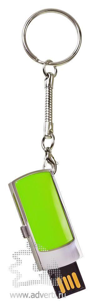 USB-флешка c выдвигающимся чипом, зеленая