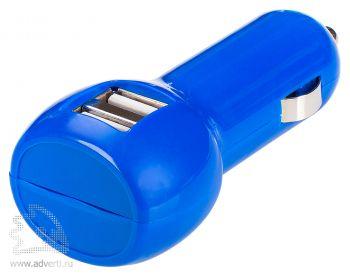 Автомобильное зарядное устройство с USB-разъемами «Basic», синее