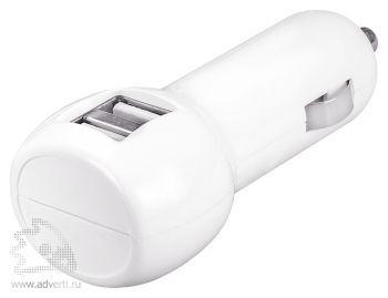 Автомобильное зарядное устройство с USB-разъемами «Basic», белое