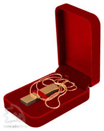 Упаковка для флешки с круглыми уголками, красная