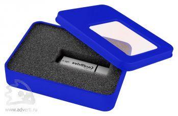Коробка с прозрачным окошком для флешки, синяя