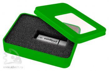 Коробка с прозрачным окошком для флешки, зеленая