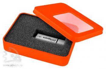Коробка с прозрачным окошком для флешки, оранжевая