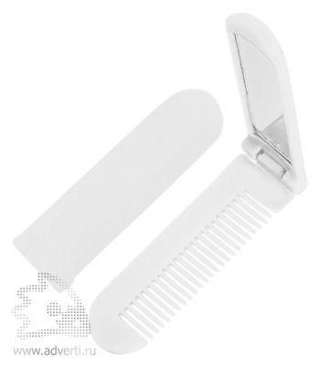 Складная расческа с зеркалом PR-014, белая