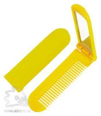 Складная расческа с зеркалом PR-014, желтая