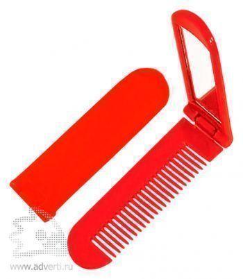 Складная расческа с зеркалом PR-014, красная