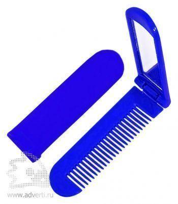 Складная расческа с зеркалом PR-014, синяя