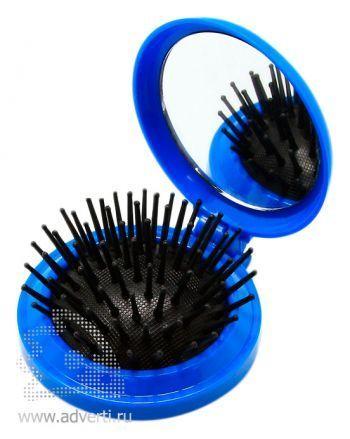 Складная расческа с зеркалом PR-021, синяя