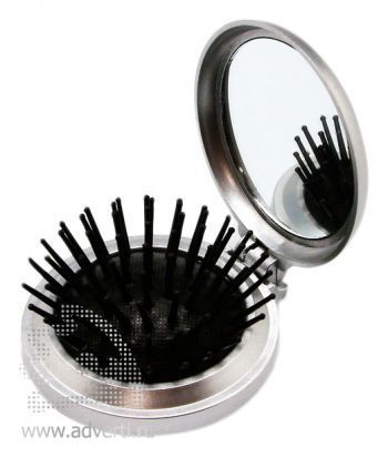 Складная расческа с зеркалом PR-021, серебристая