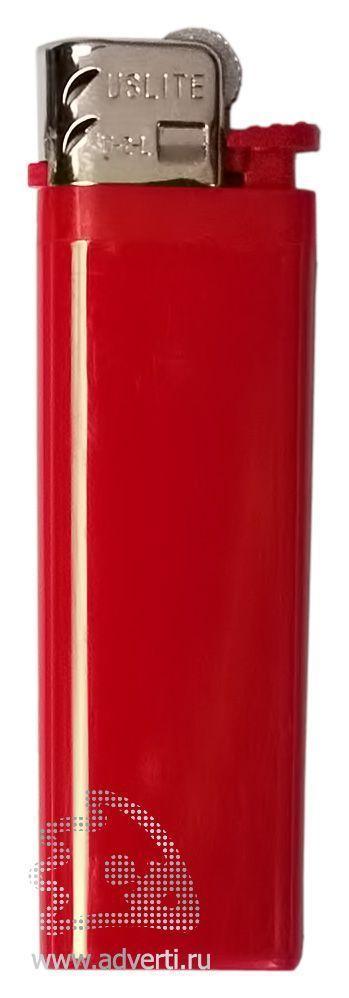 Зажигалка кремниевая, маленькая, красная