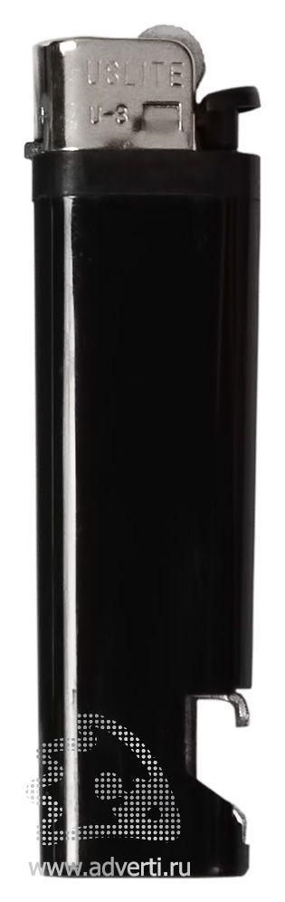 Зажигалка кремниевая с открывашкой, черная