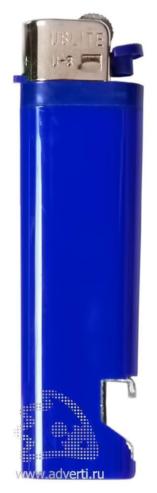 Зажигалка кремниевая с открывашкой, синяя
